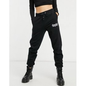 Crooked Tongues set sweatpants with fresh cut flowers logo in mono Custom BXZO890