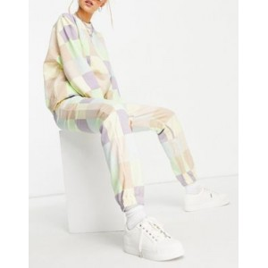 Daisy Street relaxed coordinating sweatpants in patchwork pastel Custom Fit KLJD376