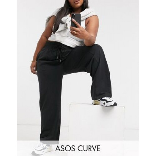 DESIGN Curve straight leg sweatpants with deep waistband and pintuck in organic cotton in black Business shopping WCSK769