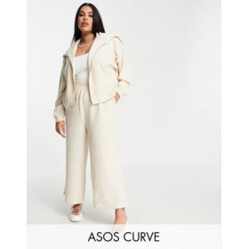 DESIGN Curve tracksuit zip through hoodie / culotte pant in fluffy texture in beige Cool comfortable FEDA584