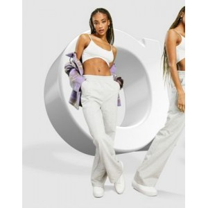DESIGN low rise straight leg sweatpants with pintuck in heather gray for Women shopping CLCP297