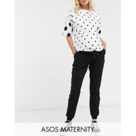 DESIGN Maternity basic jogger with tie in organic cotton in black Custom for Women The Best Brand EXWV714