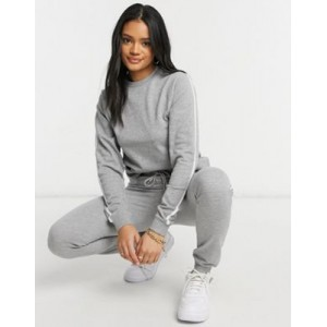 DESIGN organic cotton tracksuit set with sweatshirt and sweatpants in gray marl for Women business casual HWJL349
