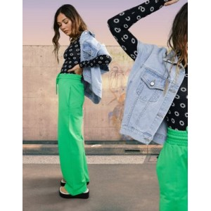 DESIGN straight leg sweatpants with deep waistband and pintuck in organic cotton in bright green Cool for Women Discount PRAI359