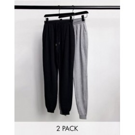 DESIGN Tall basic sweatpants with tie 2 pack in black and gray for Women Discount YKCI135