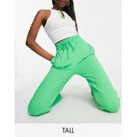 DESIGN Tall straight leg sweatpants with deep waistband and pin tucks in organic cotton in bright green Business for Women LRVZ156