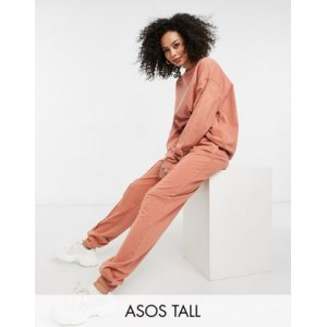 DESIGN Tall tracksuit with oversized sweatshirt & sweatpants with pintuck in terracotta acid wash Business for Women Boutique GWCH944