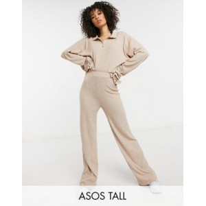 DESIGN Tall tracksuit with polo top and wide leg pants in brushed rib oatmeal Business for Women RWGZ937