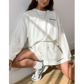 DESIGN tracksuit in terry oversized sweatshirt and short with embroidered logo in cream Ships Free RFYE347