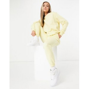 DESIGN tracksuit ultimate sweatshirt / sweatpants with tie in organic cotton in yellow Lowest Price IDUT555