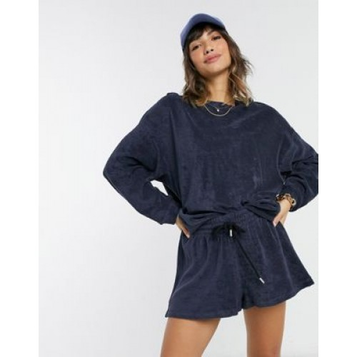 DESIGN tracksuit with oversized sweats top & shorts in terrycloth in petrol Business cool designs LLWZ474