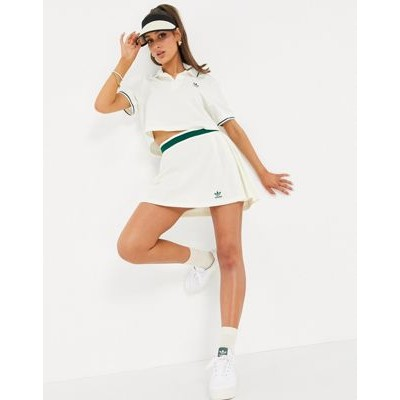 adidas Originals 'Tennis Luxe' logo pleated skirt in off white Pretty Little Thing for Women for sale near me SVBS688