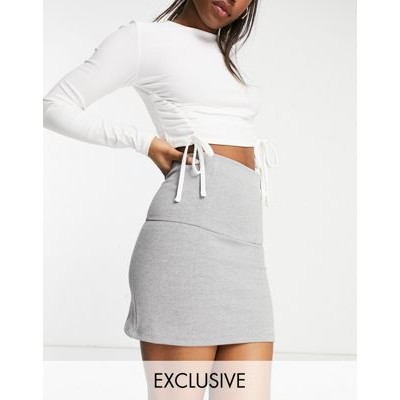 ASYOU super high waisted rib cage mini skirt in gray Casual Or Sale Near Me EMCV348