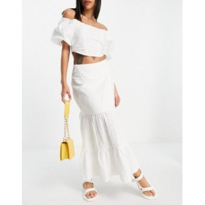 Bardot tiered eyelet midaxi skirt in ivory - part of a set Cost KGUI378