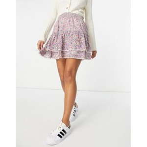 BB Dakota tiered lace trim mini skirt with shirred waist in floral print for Women Fit ZWEI480