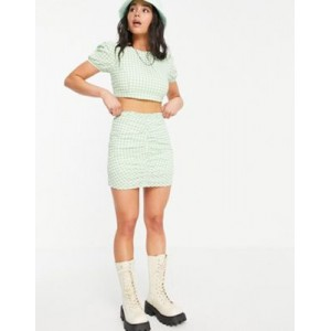 Bershka ruched front gingham matching mini skirt in green for Women PPXX600
