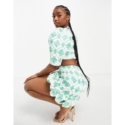 Collective the Label bubble hem mini skirt set in green jewel print Casual for Women's boutique NRZJ791