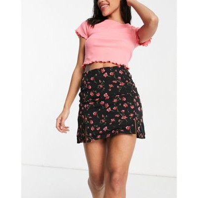 Daisy Street mini skirt with front splits in romantic floral Flowy on clearance SUKX279