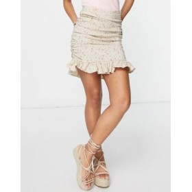 DESIGN bengaline mini skirt with ruched side in floral print Flowy for Women Collection YTKF814