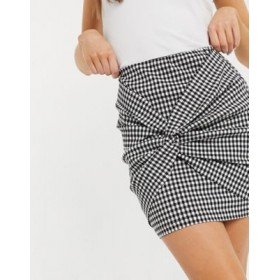 DESIGN bengaline mini skirt with twist detail in gingham check print Etsy for Women's Cheap EJNH353