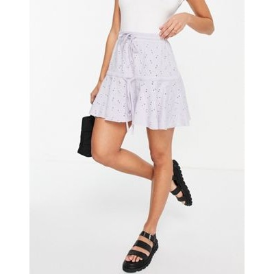 DESIGN broderie tiered mini skirt with tie detail in lilac Target On Sale NVBO338