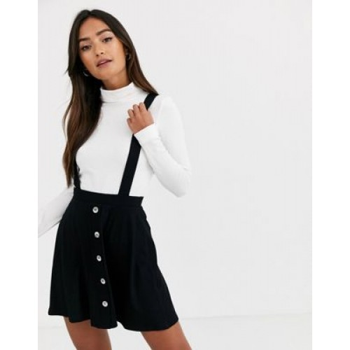 DESIGN button front mini pinafore skirt in black Classic for Women spring 2021 JIHR352
