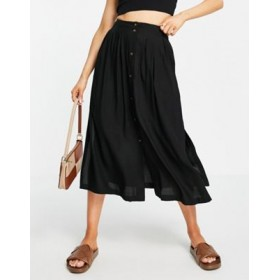 DESIGN button through midi skirt with deep pocket detail in black Kpop for Young Women quality MSRI644