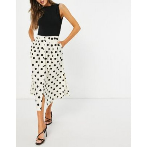 DESIGN button through midi skirt with deep pocket detail in cream & black dot print for Young Women SIHC585