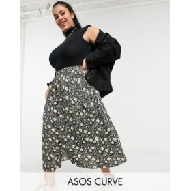 DESIGN Curve button through midi skirt with deep pocket detail in blurred floral print Etsy shopping XEQS752