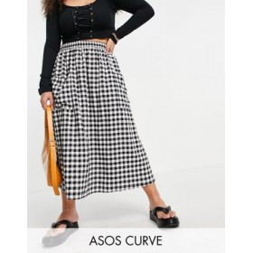 DESIGN Curve midi skirt with pocket detail in textured mono gingham check Quality XIQZ794