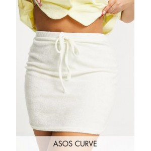DESIGN Curve towelling mini skirt with tie detail in off white For Summer for Women The Best Brand DZSD155