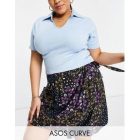DESIGN Curve wrap mini skirt with tie side detail in floral print for Women's EJSM929