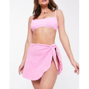 DESIGN jersey terrycloth matching beach tie side skirt in pink for Women Recommendations JLVB263