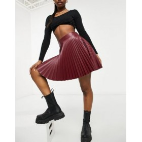 DESIGN leather look skirt in wine for Young Women quality MUOB402