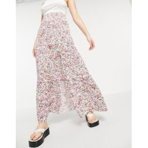 DESIGN maxi skirt in crinkle with side split in ditsy floral print Classic 2021 LZGV406