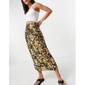 DESIGN midaxi slip skirt with lace up detail in floral print on style JMXZ504
