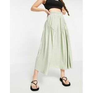 DESIGN midi skirt with gathered detail in sage for Women Number 1 Selling TXYH669