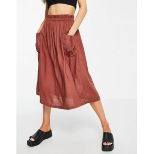 DESIGN midi skirt with pocket detail in chocolate Clearance Sale RKGW869