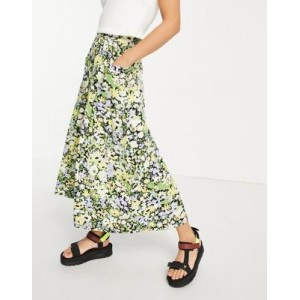 DESIGN midi skirt with pocket in floral print in new look LMRN582