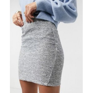 DESIGN mini skirt in boucle sand and black Quality for Women Discount UTIX136