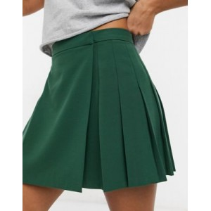DESIGN pleated mini skirt in forest green for Women comfortable ZJHQ261