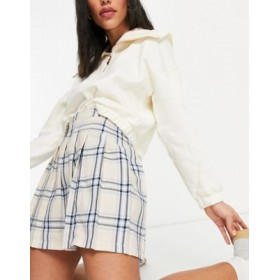 DESIGN pleated tennis mini skirt in cream & blue check print for Young Women good quality GUPE866