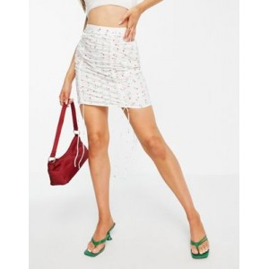DESIGN ruched front mini skirt in cotton cherry print for Women Cut Off HSJI748