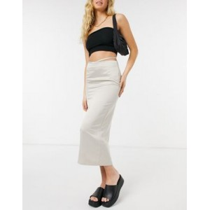 DESIGN satin bias midi slip skirt with cut out waist detail in taupe Quality business casual RQXS290