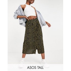 DESIGN Tall button through midi skirt with deep pocket detail in yellow floral and spot print for Women quality PJJF394