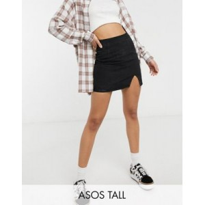 DESIGN Tall denim side slit mini skirt in black for Young Women Casual LQAB495