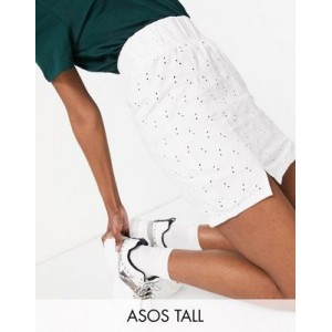 DESIGN Tall eyelet mini skirt with shirred waistband and notch hem in white Kpop Fit CEPJ732