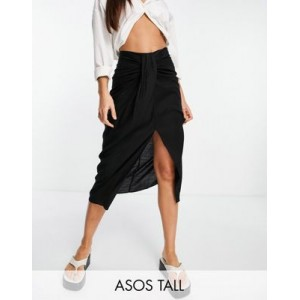 DESIGN Tall midi skirt with drape detail in black Etsy for Women's New Style IQFE469