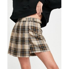 DESIGN wrap pleated mini skirt with buckle detail in plaid print Quality Latest Fashion NSSH673