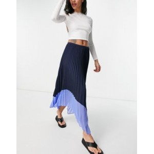 French Connection pleated skirt in black with blue contrast hem for Women On Sale QUPB348
